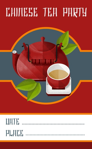 Chinese tea party invitation card template with red kettle and pialat on saucer Free Vector