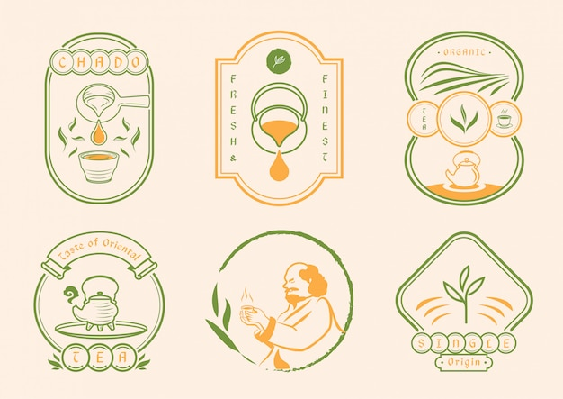 Chinese tea with classic badge style Premium Vector