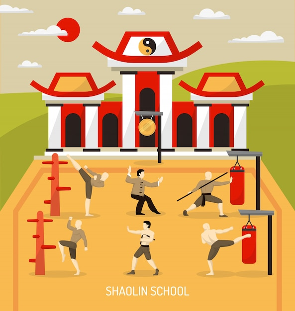 Chinese temple martial arts illustration Free Vector