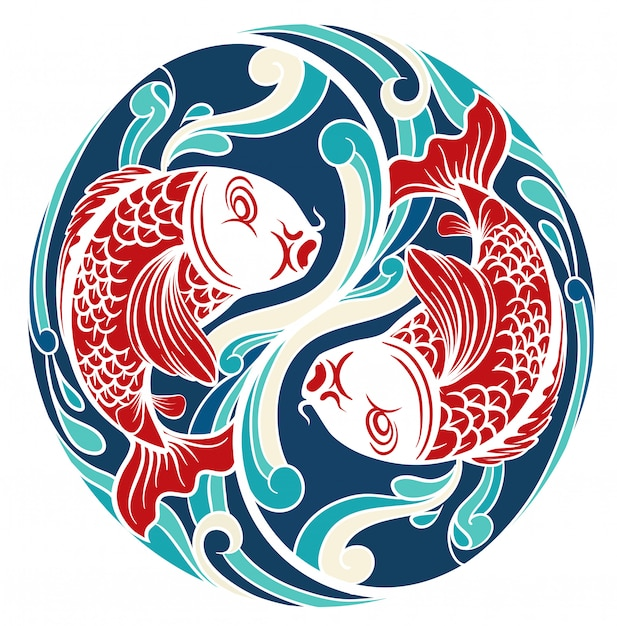 Chinese theme with fish Free Vector