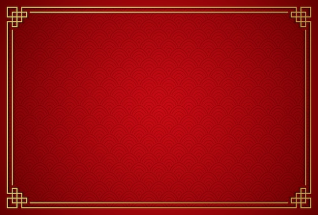 Chinese traditional background with golden frame Premium Vector