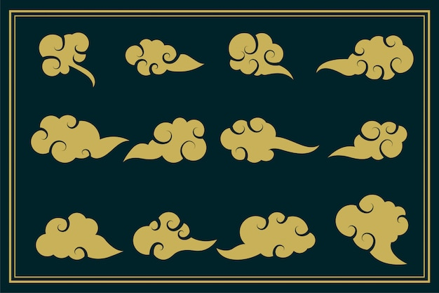 Chinese traditional clouds decorative set of twelve Free Vector