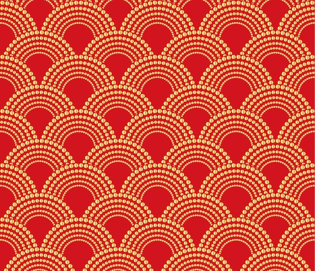 Chinese traditional oriental ornament background, red with gold pattern unless. Premium Vector