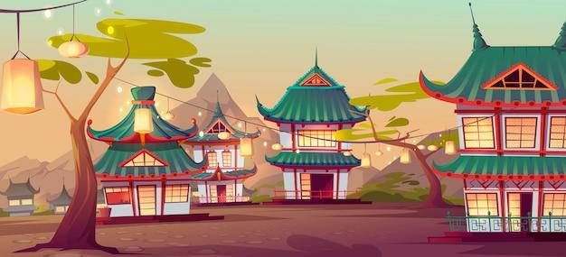 오래 된 전형적인 주택과 중국 마을 거리 무료 벡터