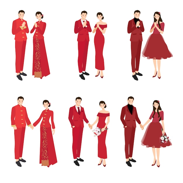 Chinese wedding couple in traditional red dress greeting for chinese new year collection Premium Vector