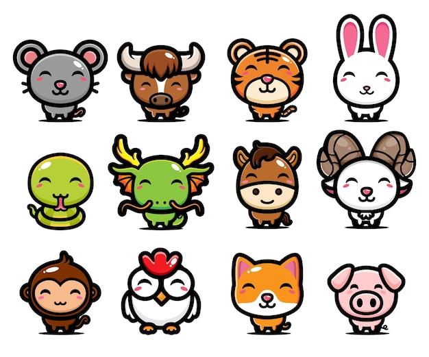 Китайский зодиак милый дизайн животных Premium векторы