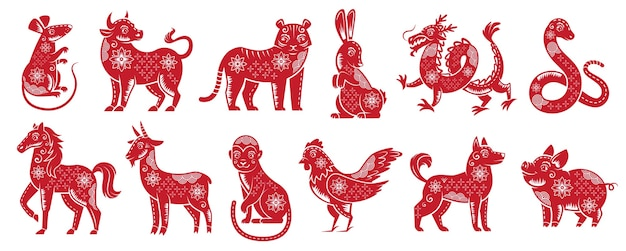 Chinese zodiac new year signs. traditional china horoscope animals, red zodiacs silhouette Free Vector