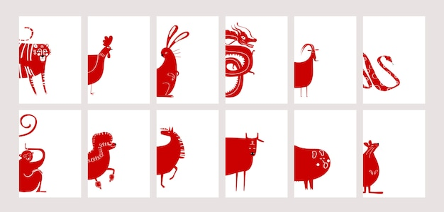 Chinese zodiac signs Free Vector