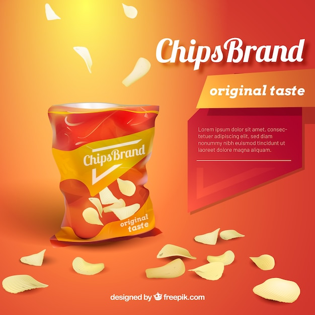 Chips advetisement in realistic style Free Vector