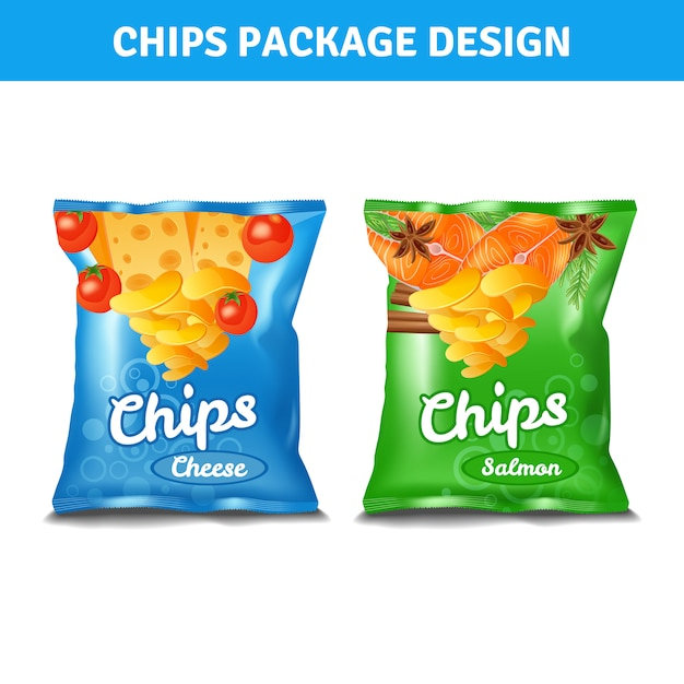 Chips color pack for cheese and salmon tastes realistic Free Vector