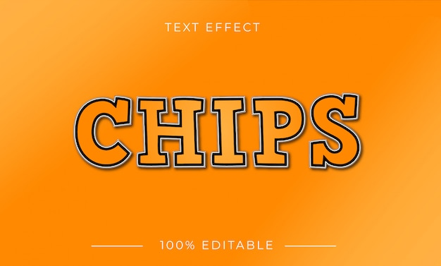 Chips text effect with gradient color Premium Vector