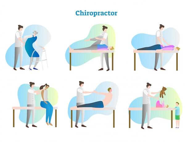 Chiropractor vector illustration collection Premium Vector