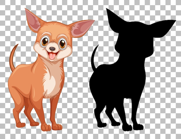 Chiwawa dog and its silhouette Free Vector