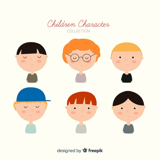 Chldren's day faces collection Free Vector