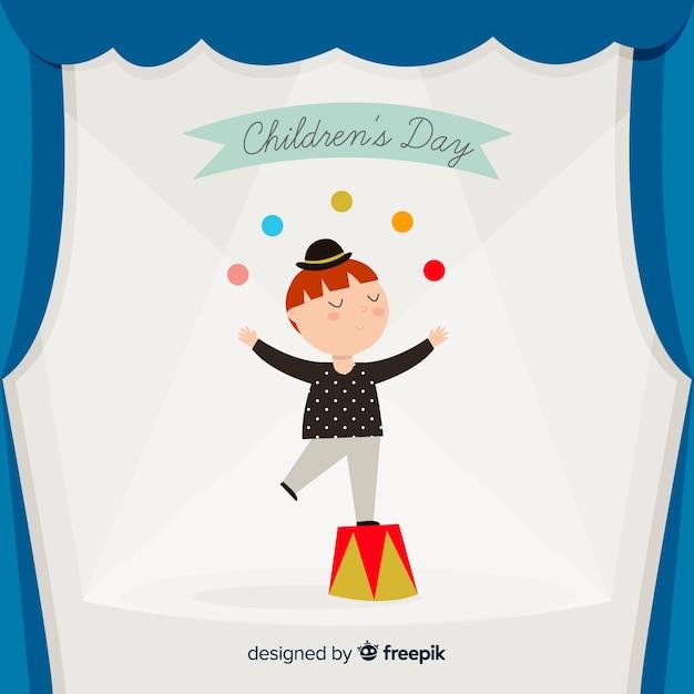 Chldren's day juggling kid background Free Vector