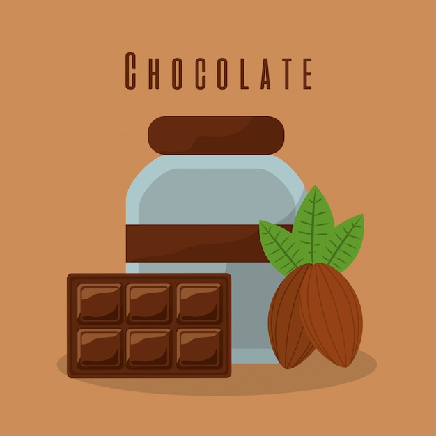 Chocolate bar and bottle cream cocoa Free Vector
