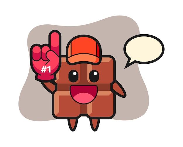 Шоколадный батончик иллюстрации мультфильм с перчаткой фанатов номер 1, милый стиль каваи. Premium векторы
