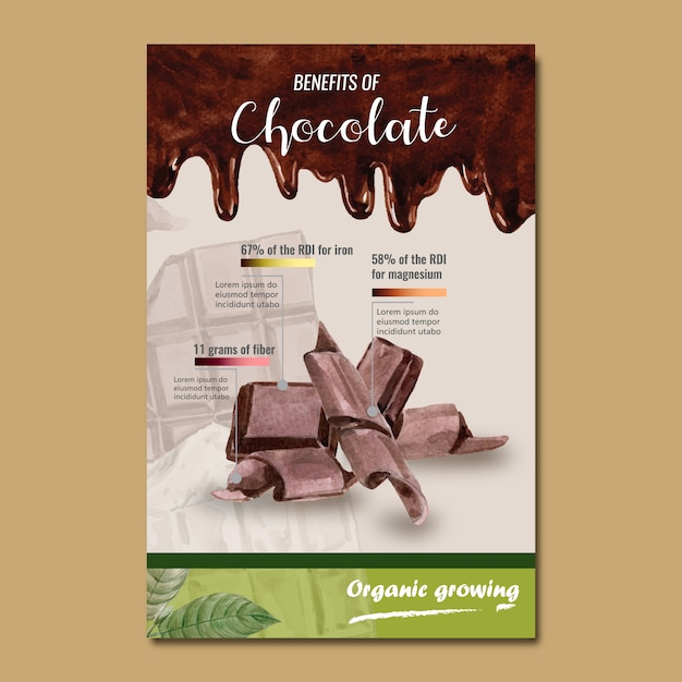 Chocolate bar watercolor with liquid chocolate background, infographic, illustration Free Vector