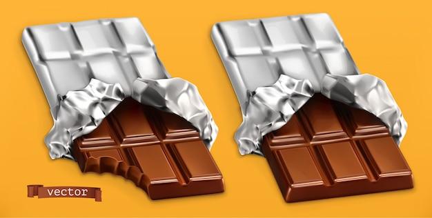 チョコレートバー、3dリアル Premiumベクター
