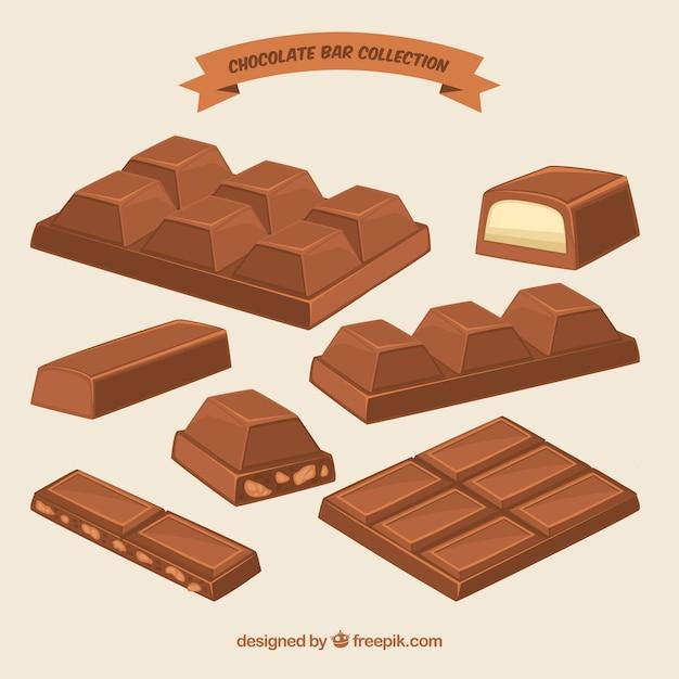 Коллекция шоколадных батончиков и кусочков с различными формами и ароматами Бесплатные векторы