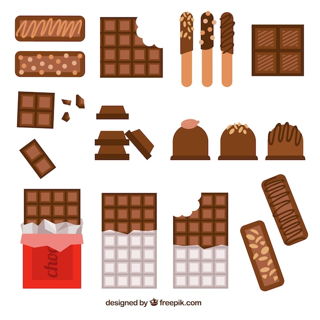 Chocolate bars and pieces collection with different shapes and flavors Free Vector