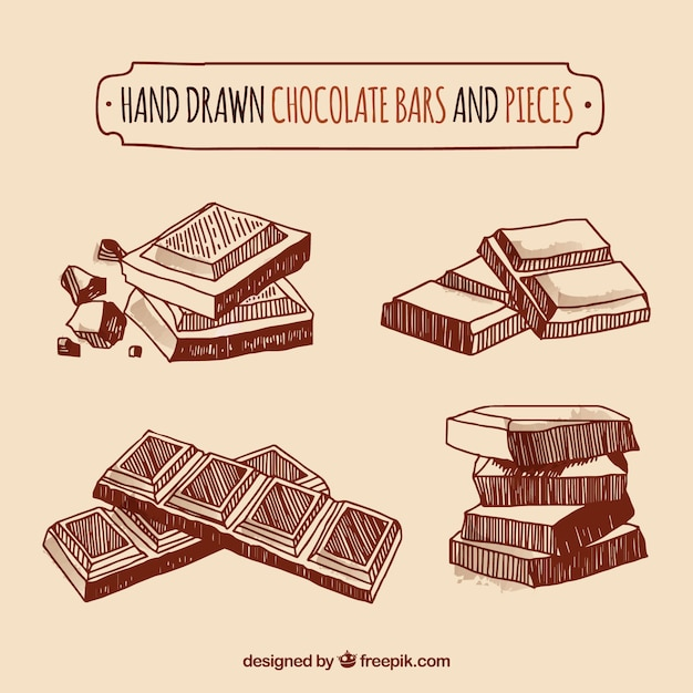 Chocolate bars and pieces collection Free Vector
