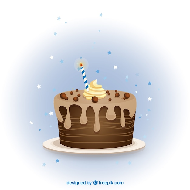 Chocolate birthday cake Vector Free Download