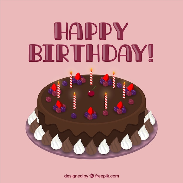 Chocolate birthday cake Vector | Premium Download
