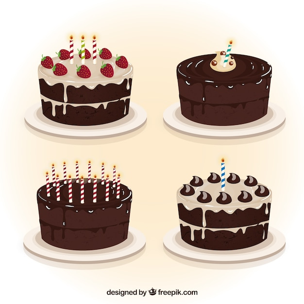Chocolate birthday cakes collection Vector Free Download