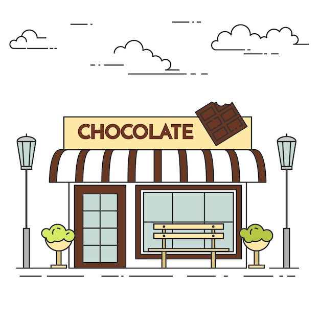 Chocolate cafe with lamps, flowers and bench. vector illustration. line art. Premium Vector