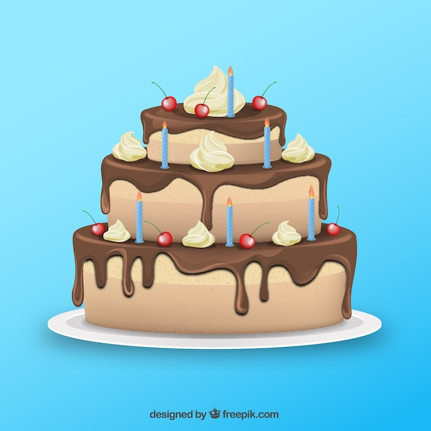 Chocolate cake for birthday Vector | Free Download
