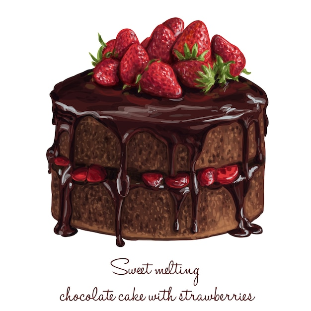 Chocolate cake with strawberries Free Vector