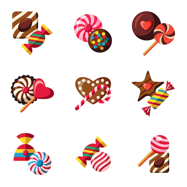 Chocolate and candy collectio Free Vector