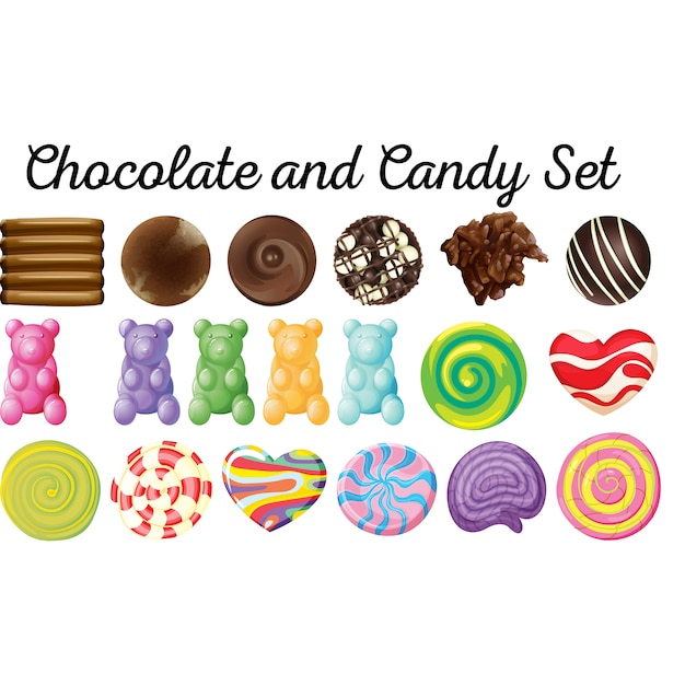 Chocolate and candy set Premium Vector