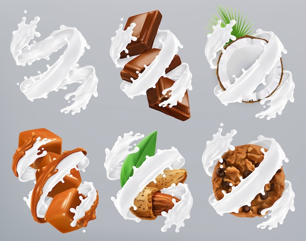 Chocolate, caramel, coconut, almond, biscuits in milk splash. yogurt, realistic vector Premium Vector