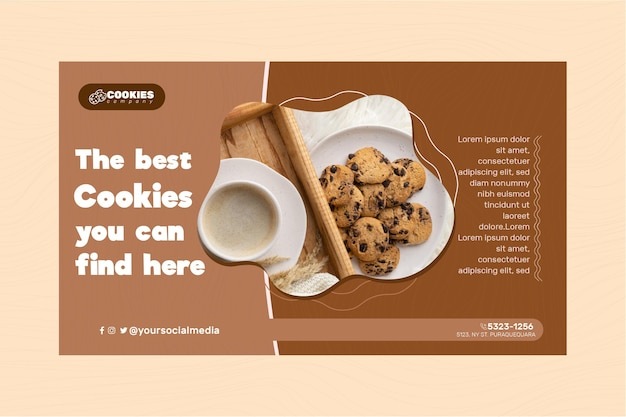 Chocolate cookies banner template Free Vector