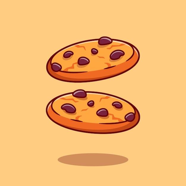 Шоколадное печенье мультфильм значок иллюстрации. концепция значок еда закуска изолированы. плоский мультяшном стиле Бесплатные векторы