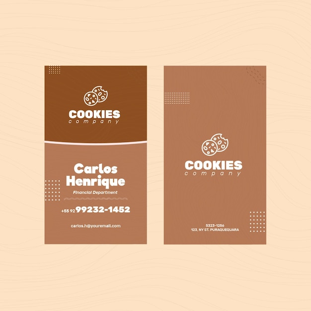 Chocolate cookies double sided business card Free Vector