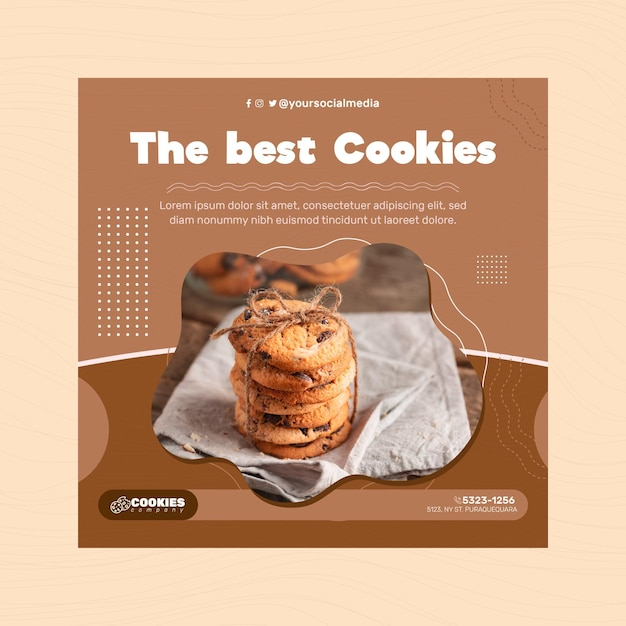 Chocolate cookies flyer square Free Vector