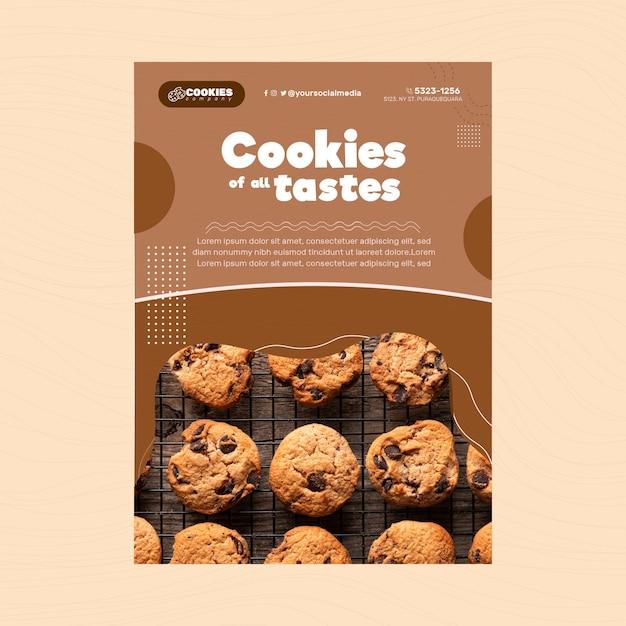 Chocolate cookies flyer vertical Free Vector