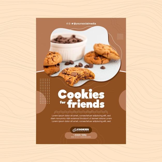 Chocolate cookies poster template Premium Vector