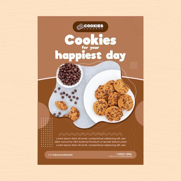Шаблон плаката шоколадное печенье Premium векторы