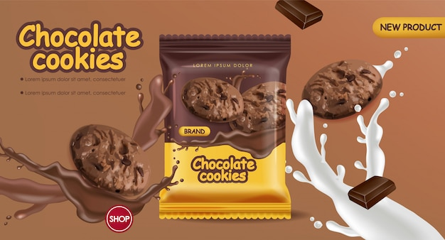 Chocolate cookies realistic mock up. declious dessert falling cookies with chocolate and milk splash. 3d detailed product packages Premium Vector