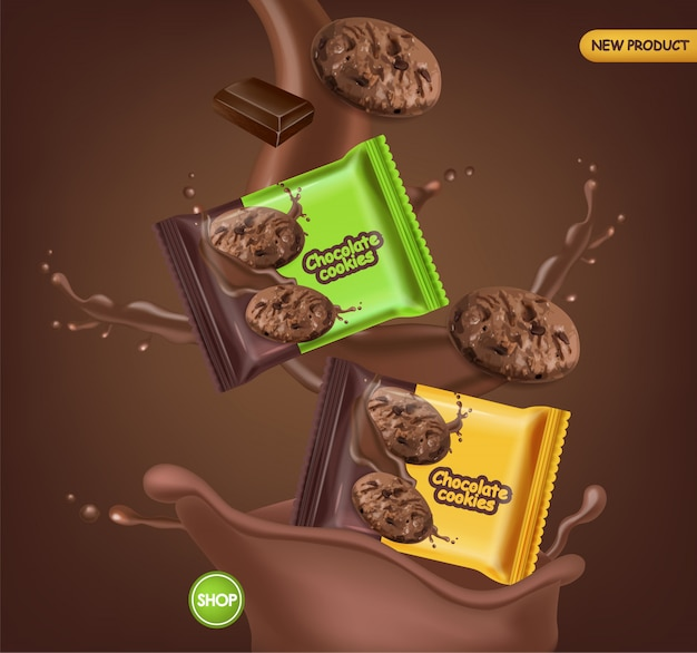 Chocolate cookies realistic mock up. delicious dessert falling cookies with chocolate splash. 3d detailed product package. label design posters Free Vector