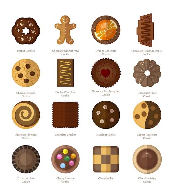 Набор шоколадного печенья. Бесплатные векторы