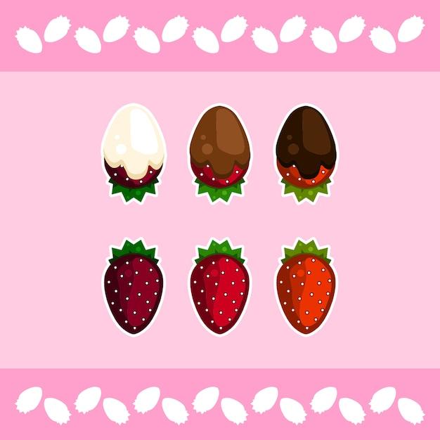 Chocolate covered strawberries Premium Vector