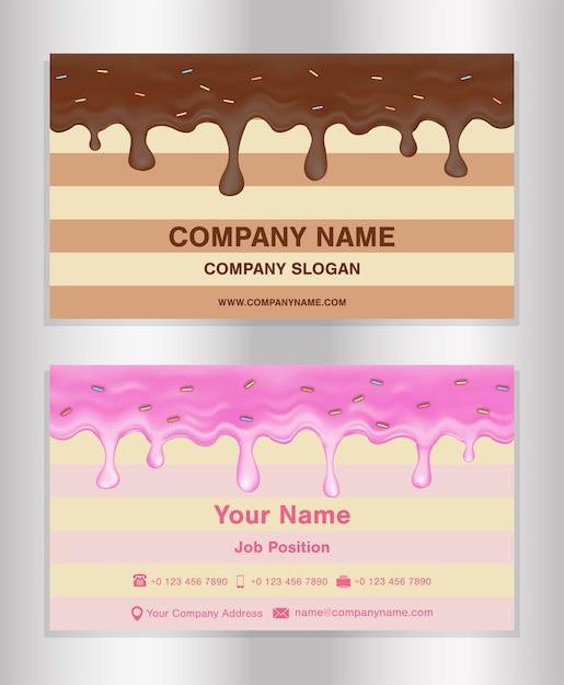 Chocolate and doughnut glaze theme business card Premium Vector
