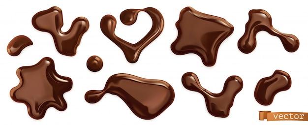 チョコレートドロップ、現実的なベクトルを設定 Premiumベクター
