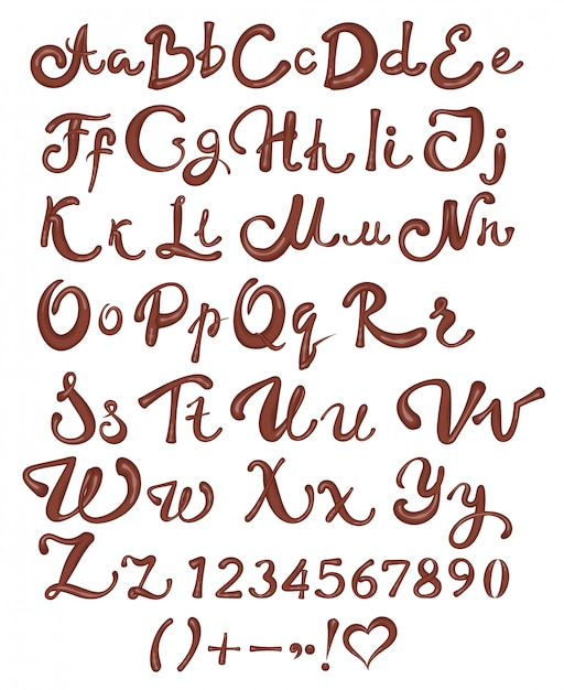 Chocolate english alphabet. brown handwritten letters and numbers on white background Premium Vector