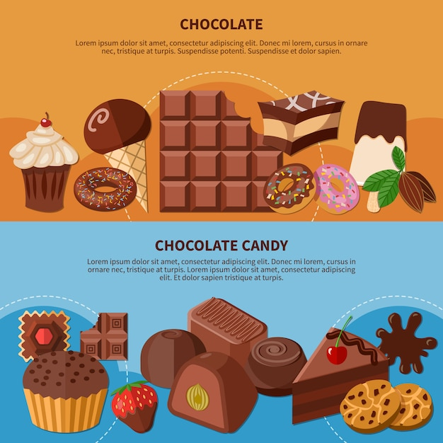 Chocolate flat banners Free Vector